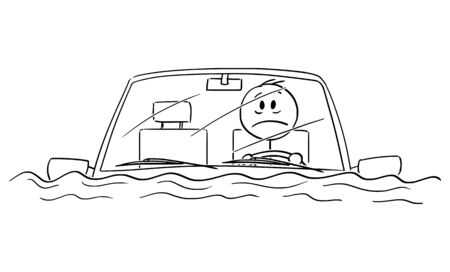 Vector cartoon stick figure drawing conceptual illustration of man or driver driving car in water flood, or sitting stunned in car after traffic accident fallen in river or lake.