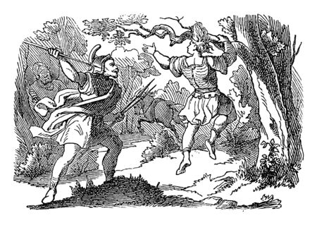 Vintage line drawing or engraving of biblical story of Joab killing Absalom hanging on tree. Bible, Old Testament, 2 Samuel 18. Biblische Geschichte des alten und neuen Testaments, Germany 1859.