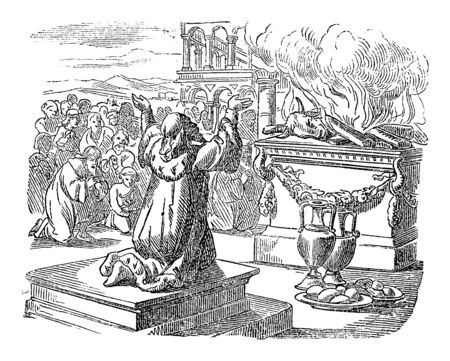 Vintage line drawing or engraving of biblical story of king Solomon praying and sacrificing to God after finished the temple. Bible, Old Testament, 2 Chronicles 7. Biblische Geschichte , Germany 1859.  イラスト・ベクター素材
