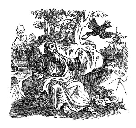 Vintage line drawing or engraving of biblical story of prophet Elijah fed by ravens. Bible, Old Testament, 1 Kings 17. Biblische Geschichte des alten und neuen Testaments, , Germany 1859. Old man in forest.