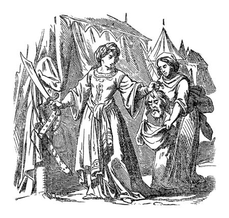 Vintage drawing or engraving of biblical story of Judith putting head of Assyrian army general Holofernes in bag.Bible, Old Testament, Judith 13. Biblische Geschichte , Germany 1859.  イラスト・ベクター素材