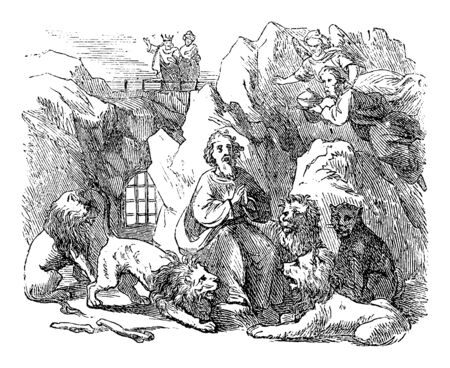 Vintage drawing or engraving of biblical story of prophet Daniel Send in lions den by king Darius of Babylon. Old Man surrounded by lions. Bible, Old Testament,Daniel 6. Biblische Geschichte , Germany 1859.  イラスト・ベクター素材