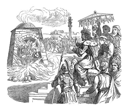 Vintage drawing or engraving of biblical story of three Jews set in fire in roaring furnace by king Nebuchadnezzar of Babylon, but rescued by angel.Bible, Old Testament,Daniel 3. Biblische Geschichte , Germany 1859.
