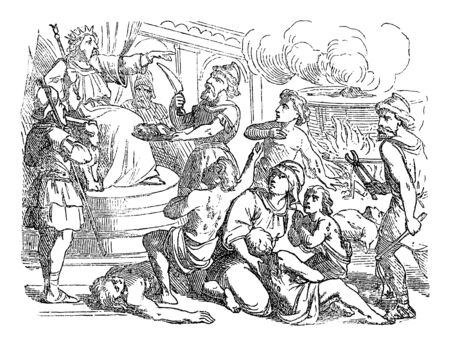 Vintage drawing or engraving of biblical story of mother and her seven sons dying when refusing to eat pork. Bible, Old Testament, 2 Maccabees 7. Biblische Geschichte , Germany 1859.  イラスト・ベクター素材