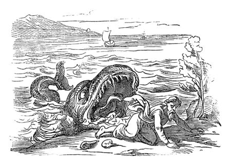Vintage drawing or engraving of biblical story of prophet Jonah and the big fish. Old man vomited by water monster. Bible, Old Testament, Jonah 2. Biblische Geschichte , Germany 1859.