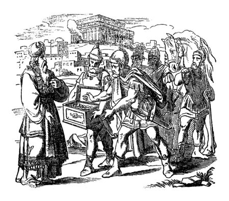 Vintage drawing or engraving of biblical story of Judas Maccabeus giving silver to priest in Jerusalem. Temple is restored.Bible, Old Testament,1 Maccabees 4. Biblische Geschichte , Germany 1859.