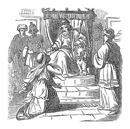Vintage drawing or engraving of biblical story of Esther standing with Mordecai in front of throne of Persian king Ahausuerus or Xerxes.Bible, Old Testament,Esther. Biblische Geschichte , Germany 1859.  イラスト・ベクター素材