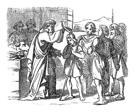 Vintage-Zeichnung oder Gravur der biblischen Geschichte des Propheten Samuel salbte David als den zukünftigen König der Israeliten. Bibel, Altes Testament, 1 Samuel 16. Biblische Geschichte, Deutschland 1859.