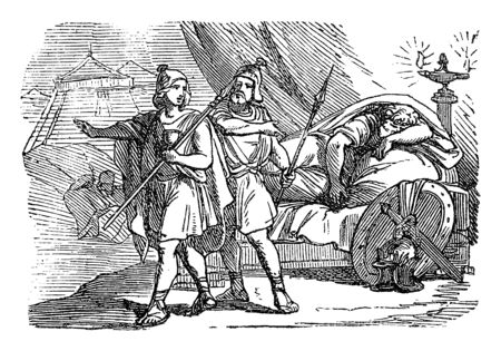 Vintage drawing or engraving of biblical story of David and Abishai spares life of sleeping king Saul in his camp and taking spear instead.Bible, Old Testament,1 Samuel 26. Biblische Geschichte , Germany 1859. Ilustração