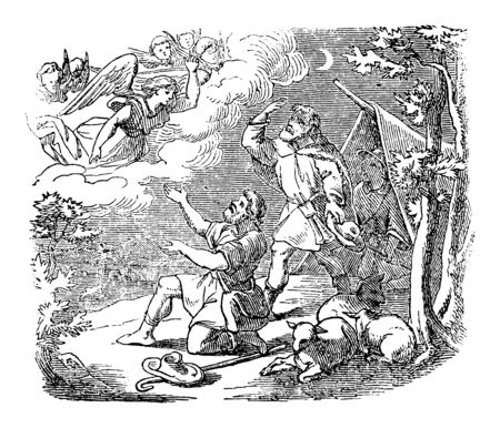 Vintage drawing or engraving of biblical story of angel speaking to shepherds near Bethlehem about bird of Jesus.Bible, New Testament,Luke 1. Biblische Geschichte , Germany 1859.  イラスト・ベクター素材