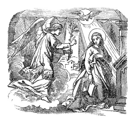 Vintage drawing or engraving of biblical story of angel Gabriel speaking to virgin Mary about immaculate conception and birth of Jesus.Bible, New Testament,Luke 1. Biblische Geschichte , Germany 1859.