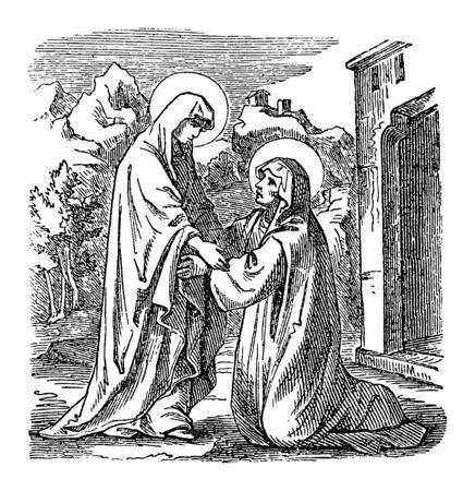 Vintage drawing or engraving of biblical story of virgin Mary, mother of Jesus, visiting saint Elizabeth. Bible, New Testament,Luke 1. Biblische Geschichte , Germany 1859.  イラスト・ベクター素材