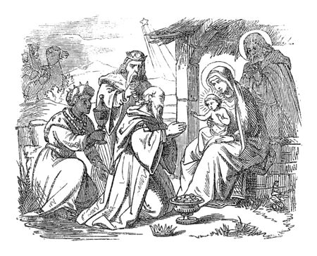 Vintage drawing or engraving of biblical story of three wise men or kings visiting newborn Jesus in Bethlehem and giving him gifts.Bible, New Testament,Matthew 2. Biblische Geschichte , Germany 1859.