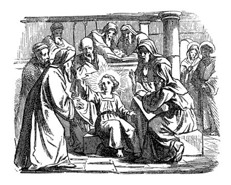 Vintage drawing or engraving of biblical story of the boy Jesus talking with teachers in temple in Jerusalem.Bible, New Testament, Luke 2. Biblische Geschichte , Germany 1859.  イラスト・ベクター素材