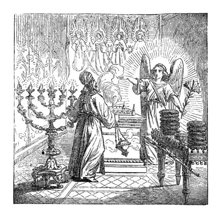 Vintage drawing or engraving of biblical story of the birth of John the Baptist foretold. Angel Gabriel is talking to priest Zechariah in temple of God. Bible, New Testament,Luke 1. Biblische Geschich  イラスト・ベクター素材