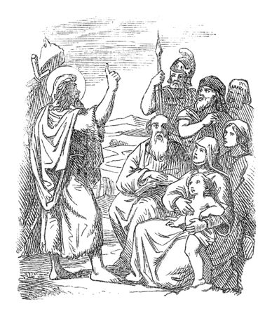Vintage drawing or engraving of biblical story of John the Baptist baptizing people in the Jordan River.Bible, New Testament,Matthew 3. Biblische Geschichte , Germany 1859.