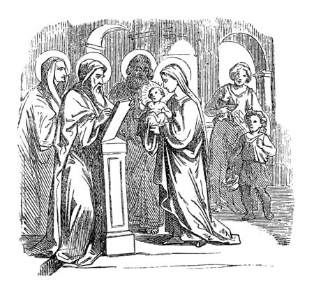 Vintage drawing or engraving of biblical story of baby Jesus presented in temple with mother Mary, father Saint Joseph, Simeon and prophet Anna.Bible, New Testament,Luke 2. Biblische Geschichte , Germany 1859. Ilustracja