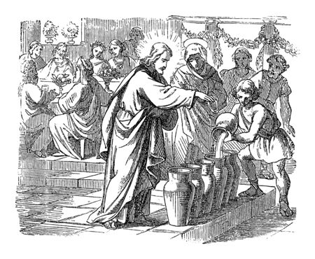 Vintage dibujo o grabado de la historia bíblica de Jesús cambia el agua en vino en Caná de Galilea. Biblia, Nuevo Testamento, Juan 2. Biblische Geschichte, Alemania 1859.