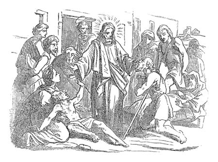 Vintage drawing or engraving of biblical story of Jesus healing sick people in front of the synagogue at Capernaum.Bible, New Testament,Luke 4. Biblische Geschichte , Germany 1859