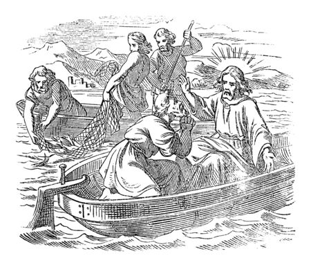 Vintage drawing or engraving of biblical story of Jesus and the miraculous catch of fish. Fishing on sea of Galilee.Bible, New Testament,John 21. Biblische Geschichte , Germany 1859.