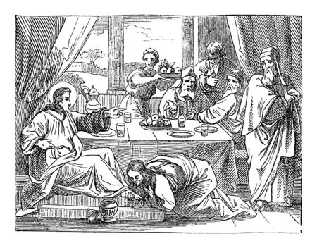 Vintage drawing or engraving of biblical story of sinful woman washing and kissing Jesus feet.Bible, New Testament,Luke 7. Biblische Geschichte , Germany 1859.