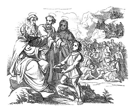 Vintage drawing or engraving of biblical story of how Jesus feeds the five thousand by five loaves and two fish.Bible,New Testament, Luke 9,John 6,Matthew 14,Mark 6. Biblische Geschichte , Germany 1859. Çizim