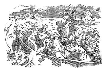 Vintage drawing or engraving of biblical story of sleeping Jesus woke up and calms the storm over the lake. Bible,New Testament,Luke 8. Biblische Geschichte , Germany 1859. Illustration