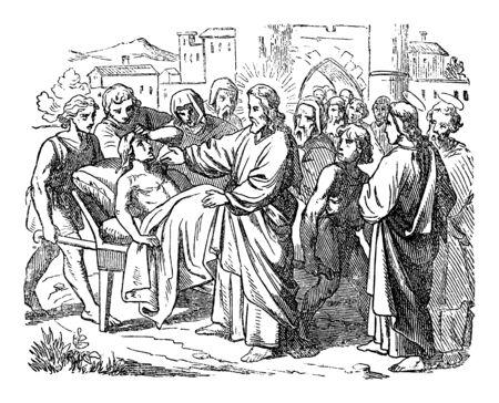 Vintage-Zeichnung oder Gravur der biblischen Geschichte von Jesus erweckt einen toten Sohn einer Witwe. Bibel, Neues Testament, Lukas 7. Biblische Geschichte, Deutschland 1859. Vektorgrafik
