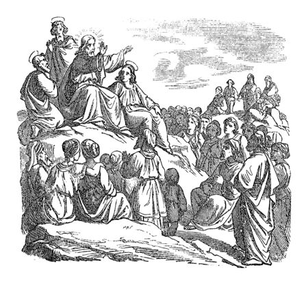 Vintage drawing or engraving of biblical story of Jesus teaching the crowd, sermon on the mount. Bible, New Testament,Mathew 5. Biblische Geschichte , Germany 1859.