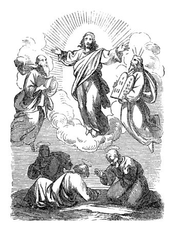 Vintage drawing or engraving of biblical story of Jesus talking with Moses and Elijah.Bible, New Testament,Matthew 17. Biblische Geschichte , Germany 1859. Çizim