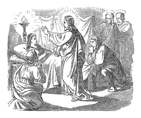 Vintage drawing or engraving of biblical story of Jesus raised dying or dead girl and healed sick woman. Bible,New Testament,Mark 5. Biblische Geschichte , Germany 1859. Ilustração
