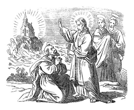 Vintage drawing or engraving of biblical story of Peter declares that Jesus is the Messiah. Jesus is giving the keys of kingdom of heave to saint Peter.Bible,New Testament,Matthew 16. Biblische Geschichte , Germany 1859.
