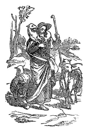 Vintage drawing or engraving of biblical story of Jesus as good shepherd holding sheep who cares about his sheep.Bible, New Testament,John 10. Biblische Geschichte , Germany 1859.