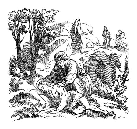 Vintage drawing or engraving of biblical story of Jesus and the parable of good Samaritan.Man helping wounded man attacked by robbers.Bible,New Testament,Luke 10. Biblische Geschichte , Germany 1859. Çizim