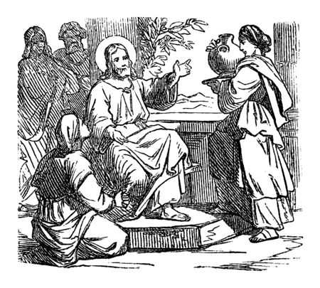 Vintage drawing or engraving of biblical story of Jesus at home of Mary and Martha. Bible,New Testament,Luke 10. Biblische Geschichte , Germany 1859.