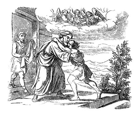 Vintage drawing or engraving of biblical story of Jesus and parable of lost son. Father is welcoming his lost son at home.Bible,New Testament,Luke 15. Biblische Geschichte , Germany 1859. Çizim