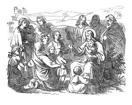 Vintage-Zeichnung oder Gravur der biblischen Geschichte von Jesus und kleinen Kindern.Bibel,Neues Testament,Matthäus 19. Biblische Geschichte, Deutschland 1859.