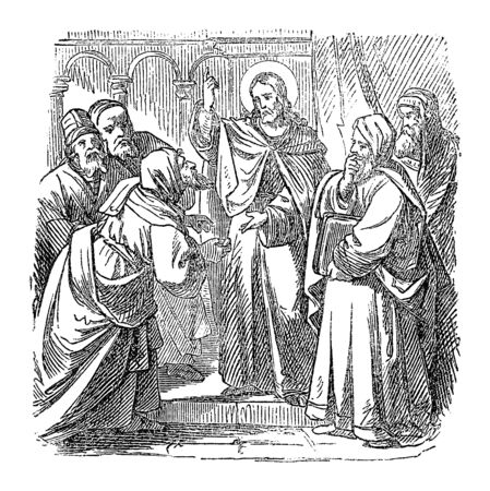Vintage drawing or engraving of biblical story of Jesus talking with priests and teachers in temple in Jerusalem about his authority.Bible,New Testament,Luke 20. Biblische Geschichte , Germany 1859.