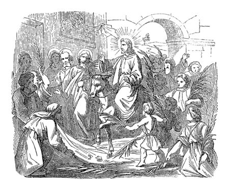 Vintage drawing or engraving of biblical story of Jesus comes to Jerusalem triumphal as king welcomed by crowds.Bible, New Testament,John 12, Matthew 21,Mark 11,Luke 19. Biblische Geschichte , Germany 1859.