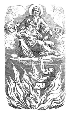Vintage drawing or engraving of biblical story of Jesus and parable of the rich man and poor Lazarus.Sinner is going to hell, beggar to heaven. Bible,New Testament,Luke 16. Biblische Geschichte , Germany 1859.