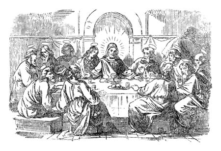 Vintage drawing or engraving of biblical story of Jesus and the last supper. Jesus and twelve disciples are eating around the table.Bible,New Testament,Matthew 26,Mark 14,Luke 22,John 13. Biblische Geschichte , Germany 1859. Çizim