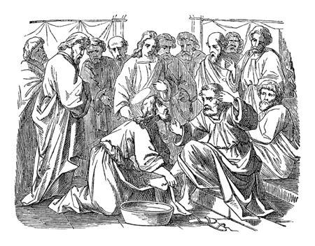 Vintage-Zeichnung oder Gravur der biblischen Geschichte von Jesus wäscht die Füße seiner Jünger. Bibel, Neues Testament, Johannes 13. Biblische Geschichte, Deutschland 1859.