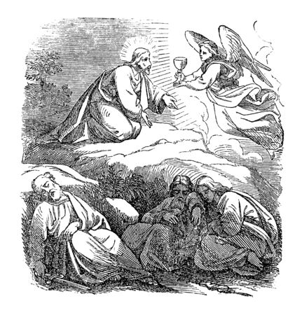 Vintage drawing or engraving of biblical story of Jesus praying in Gethsemane. Angel giving him cup of suffering.Bible,New Testament,Mark 14,Matthew 26. Biblische Geschichte , Germany 1859.