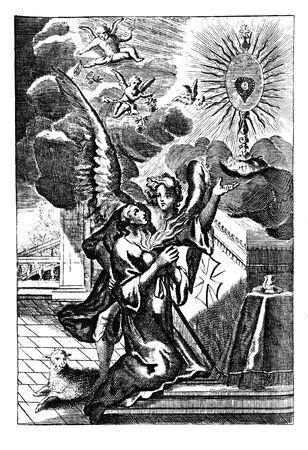 Antique vintage religious engraving or drawing of woman praying at the altar with angels around.Illustration from Book Die Betrubte Und noch Ihrem Beliebten..., Austrian Empire,1716. Artist is unknown.