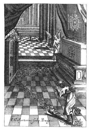 Antique vintage religious engraving or drawing of praying woman sinner walking on thorns to concession and pray at altar in church.Illustration from Book Die Betrubte Und noch Ihrem Beliebten..., Austrian Empire,1716. Artist J.C.Sartorius.