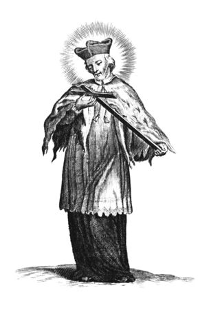 Antique vintage religious engraving or drawing of holy man in priest clothing holding cross. Saint John of Nepomuk or Nepomucene.Illustration from Book Die Betrubte Und noch Ihrem Beliebten..., Austrian Empire,1716. Artist is unknown.