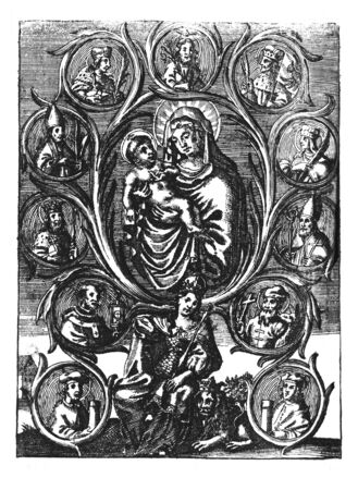 Antique vintage religious engraving or drawing of queen sitting on throne with Jesus, virgin Mary, kings and saints around.Kingdom of Bohemia.Illustration from Book Die Betrubte Und noch Ihrem Beliebten..., Austrian Empire,1716. Artist is unknown. Zdjęcie Seryjne