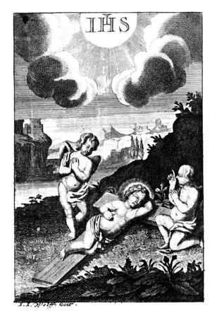 Antique vintage religious engraving or drawing of baby Jesus sleeping on cross and two angels or cherubs watching him.Illustration from Book Die Betrubte Und noch Ihrem Beliebten..., Austrian Empire,1716. Artist I.I.Wolff.