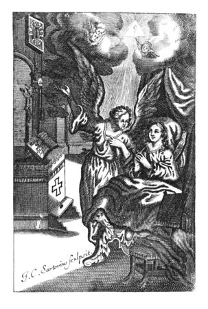Antique vintage religious engraving or drawing of woman in bed that wakes up and angel reminds her to go pray to god at altar.Illustration from Book Die Betrubte Und noch Ihrem Beliebten..., Austrian Empire,1716. Artist J.C.Sartorius.