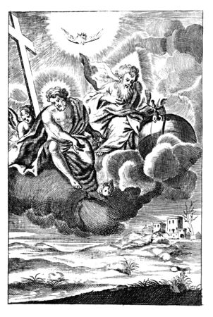 Antique vintage religious engraving or drawing of God, Jesus and angel flying on cloud over the Earth or landscape.Illustration from Book Die Betrubte Und noch Ihrem Beliebten..., Austrian Empire,1716. Artist is unknown. Zdjęcie Seryjne